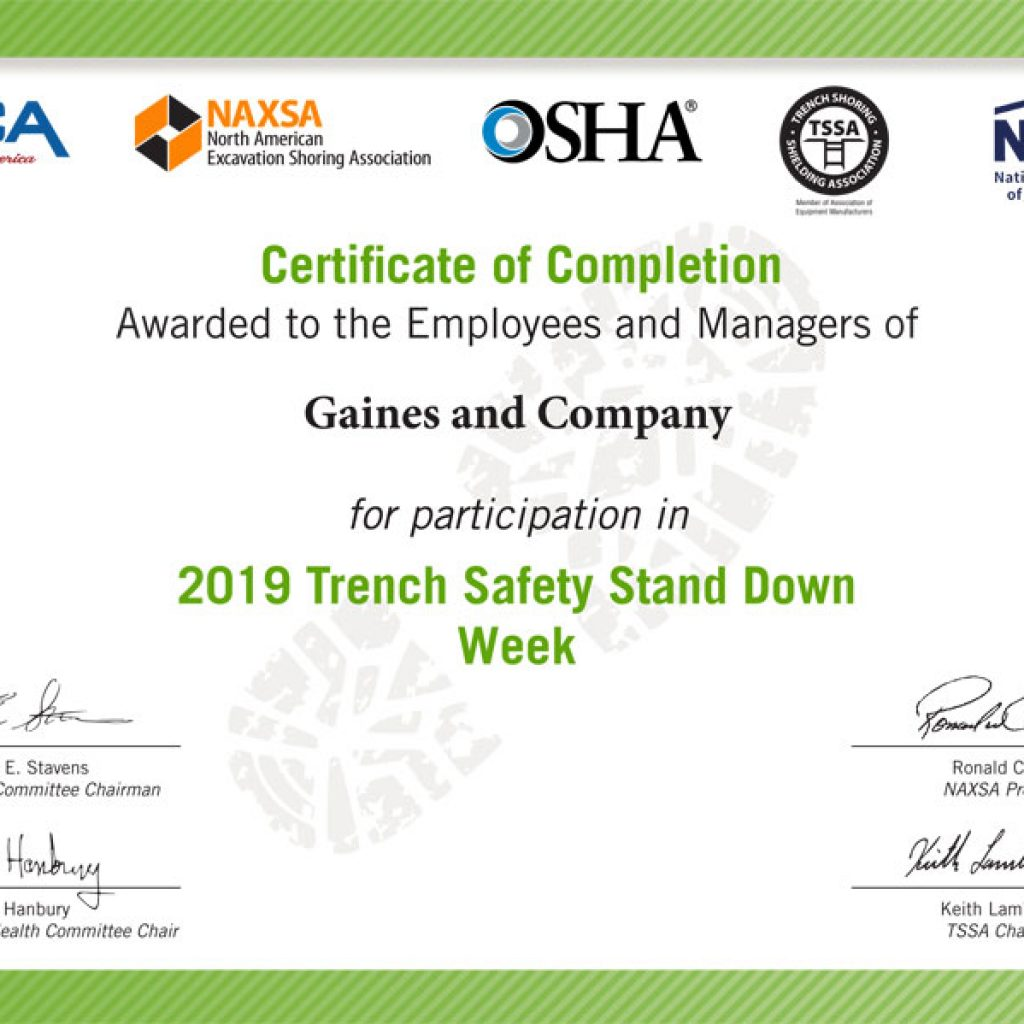 Gaines and Company Receives NUCA Recognition for Trench